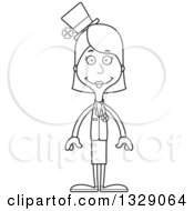 Lineart Clipart Of A Cartoon Black And White Happy Tall Skinny White Irish St Patricks Day Woman Royalty Free Outline Vector Illustration