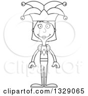 Lineart Clipart Of A Cartoon Black And White Happy Tall Skinny White Woman Jester Royalty Free Outline Vector Illustration
