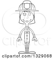 Lineart Clipart Of A Cartoon Black And White Happy Tall Skinny White Woman Firefighter Royalty Free Outline Vector Illustration by Cory Thoman