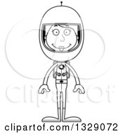 Lineart Clipart Of A Cartoon Black And White Happy Tall Skinny White Woman Astronaut Royalty Free Outline Vector Illustration