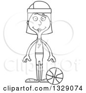 Lineart Clipart Of A Cartoon Black And White Hapy Tall Skinny White Woman Basketball Player Royalty Free Outline Vector Illustration