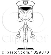 Lineart Clipart Of A Cartoon Black And White Happy Tall Skinny White Woman Boat Captain Royalty Free Outline Vector Illustration