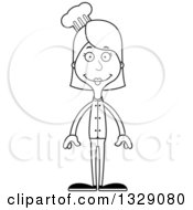 Lineart Clipart Of A Cartoon Black And White Happy Tall Skinny White Woman Chef Royalty Free Outline Vector Illustration