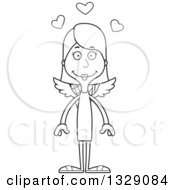 Lineart Clipart Of A Cartoon Black And White Happy Tall Skinny White Woman Cupid Royalty Free Outline Vector Illustration