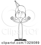 Lineart Clipart Of A Cartoon Black And White Angry Tall Skinny White Wizard Woman Royalty Free Outline Vector Illustration
