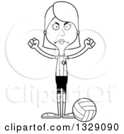 Lineart Clipart Of A Cartoon Black And White Angry Tall Skinny White Woman Volleyball Player Royalty Free Outline Vector Illustration