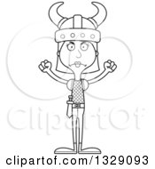 Lineart Clipart Of A Cartoon Black And White Angry Tall Skinny White Woman Viking Royalty Free Outline Vector Illustration