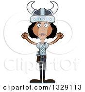 Cartoon Angry Tall Skinny Black Viking Woman