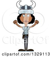 Clipart Of A Cartoon Angry Tall Skinny Black Viking Woman Royalty Free Vector Illustration