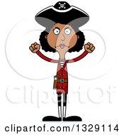 Cartoon Angry Tall Skinny Black Woman Pirate