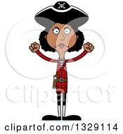 Clipart Of A Cartoon Angry Tall Skinny Black Woman Pirate Royalty Free Vector Illustration