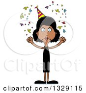 Clipart Of A Cartoon Angry Tall Skinny Black Party Woman Royalty Free Vector Illustration