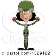 Clipart Of A Cartoon Angry Tall Skinny Black Woman Army Soldier Royalty Free Vector Illustration
