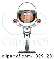 Clipart Of A Cartoon Angry Tall Skinny Black Woman Astronaut Royalty Free Vector Illustration
