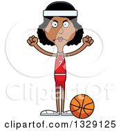 Clipart Of A Cartoon Angry Tall Skinny Black Woman Basketball Player Royalty Free Vector Illustration