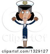 Clipart Of A Cartoon Angry Tall Skinny Black Woman Boat Captain Royalty Free Vector Illustration