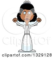 Clipart Of A Cartoon Angry Tall Skinny Black Woman Bride Royalty Free Vector Illustration