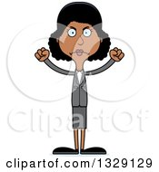 Clipart Of A Cartoon Angry Tall Skinny Black Business Woman Royalty Free Vector Illustration by Cory Thoman