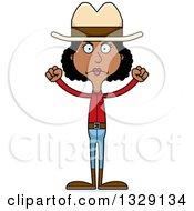 Cartoon Angry Tall Skinny Black Cowgirl Woman