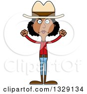 Clipart Of A Cartoon Angry Tall Skinny Black Cowgirl Woman Royalty Free Vector Illustration by Cory Thoman