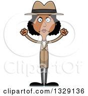 Cartoon Angry Tall Skinny Black Woman Detective
