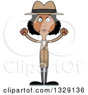 Clipart Of A Cartoon Angry Tall Skinny Black Woman Detective Royalty Free Vector Illustration