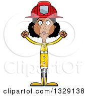 Cartoon Angry Tall Skinny Black Woman Firefighter