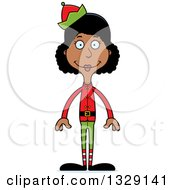 Clipart Of A Cartoon Happy Tall Skinny Black Christmas Elf Woman Royalty Free Vector Illustration