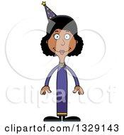 Cartoon Happy Tall Skinny Black Wizard Woman