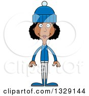 Cartoon Happy Tall Skinny Black Woman In Winter Clothes