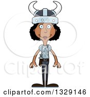 Clipart Of A Cartoon Happy Tall Skinny Black Viking Woman Royalty Free Vector Illustration
