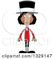 Cartoon Happy Tall Skinny Black Woman Circus Ringmaster