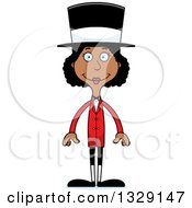 Clipart Of A Cartoon Happy Tall Skinny Black Woman Circus Ringmaster Royalty Free Vector Illustration