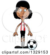 Clipart Of A Cartoon Happy Tall Skinny Black Woman Soccer Player Royalty Free Vector Illustration