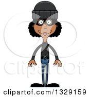 Cartoon Happy Tall Skinny Black Woman Robber
