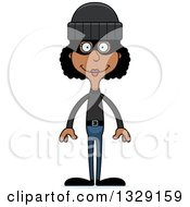 Clipart Of A Cartoon Happy Tall Skinny Black Woman Robber Royalty Free Vector Illustration by Cory Thoman