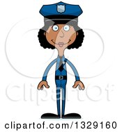 Cartoon Happy Tall Skinny Black Woman Police Officer