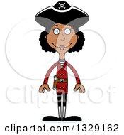 Cartoon Happy Tall Skinny Black Woman Pirate