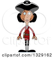Clipart Of A Cartoon Happy Tall Skinny Black Woman Pirate Royalty Free Vector Illustration