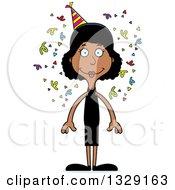 Cartoon Happy Tall Skinny Black Party Woman