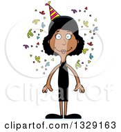 Clipart Of A Cartoon Happy Tall Skinny Black Party Woman Royalty Free Vector Illustration