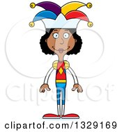 Clipart Of A Cartoon Happy Tall Skinny Black Woman Jester Royalty Free Vector Illustration by Cory Thoman