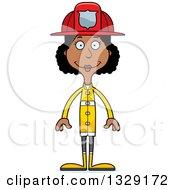 Cartoon Happy Tall Skinny Black Woman Firefighter