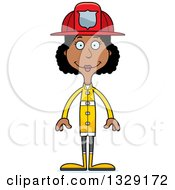 Clipart Of A Cartoon Happy Tall Skinny Black Woman Firefighter Royalty Free Vector Illustration by Cory Thoman