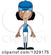 Poster, Art Print Of Cartoon Happy Tall Skinny Black Woman Baseball Player
