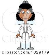 Cartoon Happy Tall Skinny Black Woman Bride