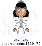 Clipart Of A Cartoon Happy Tall Skinny Black Woman Bride Royalty Free Vector Illustration