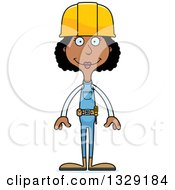 Clipart Of A Cartoon Happy Tall Skinny Black Woman Construction Worker Royalty Free Vector Illustration