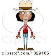 Cartoon Happy Tall Skinny Black Cowgirl Woman
