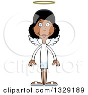Clipart Of A Cartoon Happy Tall Skinny Black Woman Angel Royalty Free Vector Illustration by Cory Thoman